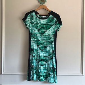 Green and black short sleeve dress, size S